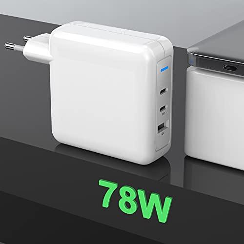 78W USB C Caricabatterie , Stromversorgung Typ C + USB-Schnellladung 3.0-Anschlüsse Wandladestation, Netzteil Akku für Mac Book Pro/Air, HP, Dell, Huawei, XiaoMi, Pad Pro, Samsung, Galaxy