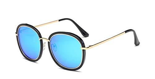 N\A Gafas de Sol de Moda Marco Cuadrado del Oro Gafas de Sol polarizadas de Las Mujeres Gafas de Sol Gafas de Sol de Espejo Rosada con la Caja UV400 (Lenses Color : Blue Mirror)