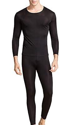 METWAY Silk Long Underwear | Men's Silk Long Johns | 2pc Thermal Underwear Set Medium Black