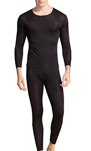 METWAY Silk Long Underwear Men's Silk Long Johns|2pc Thermal Underwear Set Lager Black