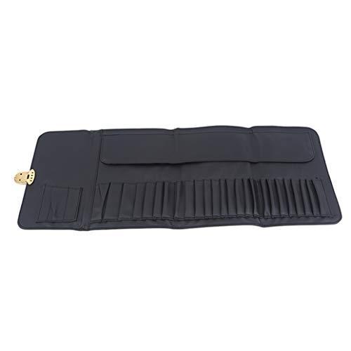 GOMYIE Litchi Pattern Makeup Brush Lock Bag Makeup Set Brush Pack Makeup Tool Storage Bag,Noir