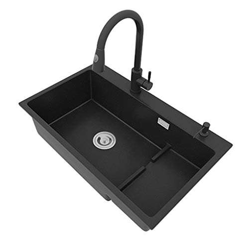 WenFei shop Black Stainless Steel Kitchen Sink with Drainer Waste and Overflow for Undermount Topmount Drop-in Installation,Dirt Resistant Easy to Clean