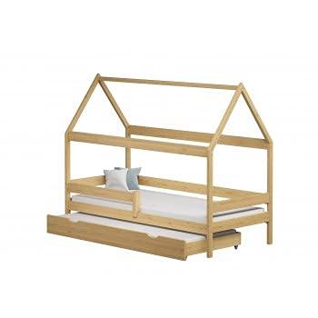 Children's Beds Home - Cama individual en forma de casa con nido - Betty - 190x90, natural, 10 cm de espuma y fibra de coco