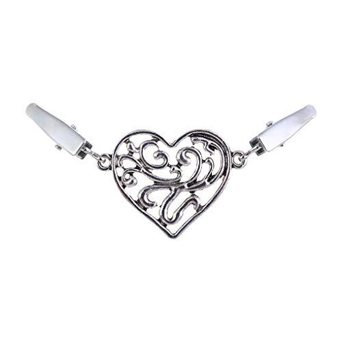 Boburyl En Forma de corazón de Las Mujeres Chaqueta de Punto de la Blusa del Pin de la aleación de la Broche de Clips Mantón Cuello de la Camisa Retro Cierres
