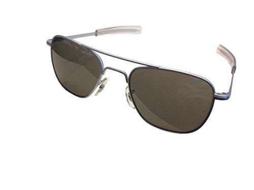 AO Eyewear レディース バヨネット寺院と真の色グレーガラスレンズとアメリカの光元パイロット眼鏡フレーム 52ミリメートル マットクロームフレーム