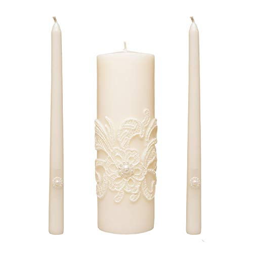 Hosley 11.50 Inch High White Wedding Unity Candle Set Includes 1 Pillar and 2 Taper Candles Great for Weddings as Well as Special Events and Emergency Lighting or for Reiki Spa Meditation