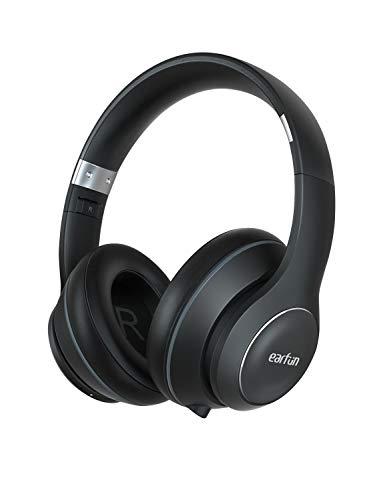 EarFun Wave Bluetooth Kopfhörer Over-Ear mit HiFi Stereo Sound, Hoch Tragkomfort, 40h Spielzeit, Faltbare Kabellose Kopfhörer mit eingebautem Mikrofon und 3,5mm Aux Anschluss für PC