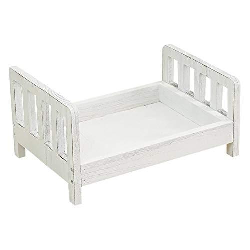Nouveau-né petit lit en bois bébé accessoires de photographie berceau petit lit photographie prop Photo Studio berceau - blanc brun