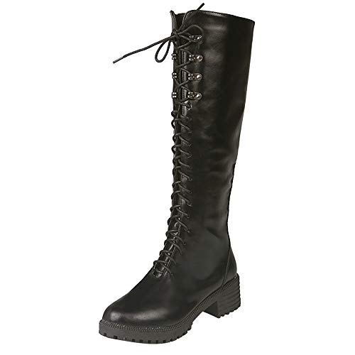 MYMYG Damen Hohe Stiefel Overknees Langschaft High Heels Stiefel Frauen Leder Lace-Up runde Spitze hohe Stiefel Overknee Flache Schuhe Stiefel Winterstiefel Freizeitschuhe