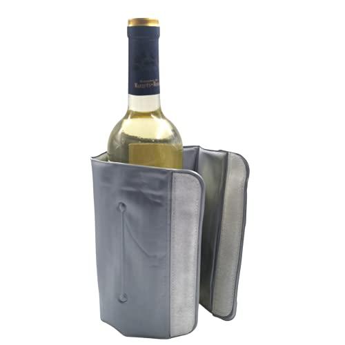 Enfriador De Botellas De Vino Con Líquido Refrigerante, Acabado Termo Sellado y Cierre Ajustable de Velcro (Gris)