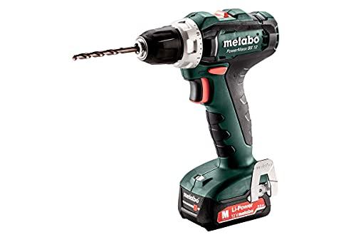 Metabo 601036500 601036500-Taladro Atornillador a bateria 12V / 2X 2,0 Ah Li-Ion PowerMaxx BS 12 con maletín, 12 V, Negro, Verde, Rojo, Plata, Size