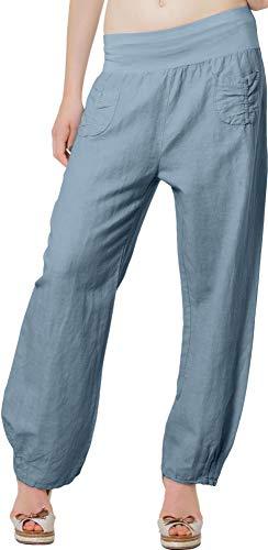 Caspar KHS006 Donna Pantaloni di Lino, Dimensioni:L - DE40 UK12 IT44 US10, Colore:Blu Jeans