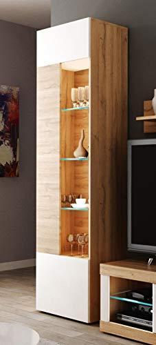 Miroytengo Vitrina Alta Ada salón Mueble Comedor Color Nogal y Blanco Estilo Moderno 52x34x187 cm