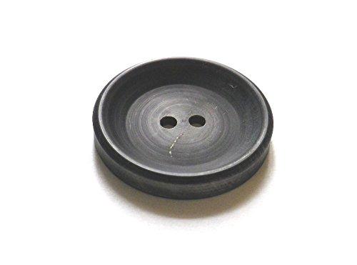 本水牛ボタン No.972R 黒のレトロな加工 Pコート,コートに (30mm)