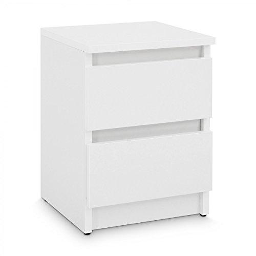 Galdem Nachttisch mit 2 Schubladen Nachtkommode Nachtkonsole Beistelltisch Nachtschrank Weiß