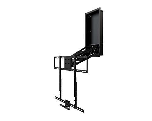 MantelMount MM750 Above Fireplace Pull Down TV Mount with 4 Premium Gas Pistons and Attached Recess Box for 1.6″ Flush-to-Wall TV Storage