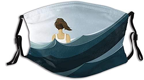 Protector facial protector bucal hermosa mujer en chaleco vista posterior azul océano cielo pasamontañas bucal bandanas cuello polaina con 2 filtros