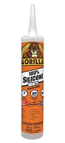 Product Image of the Gorilla White 100 Percent Silicone Sealant Caulk, Waterproof and Mold & Mildew Resistant, 10 Ounce Cartridge, White, (Pack of 1)