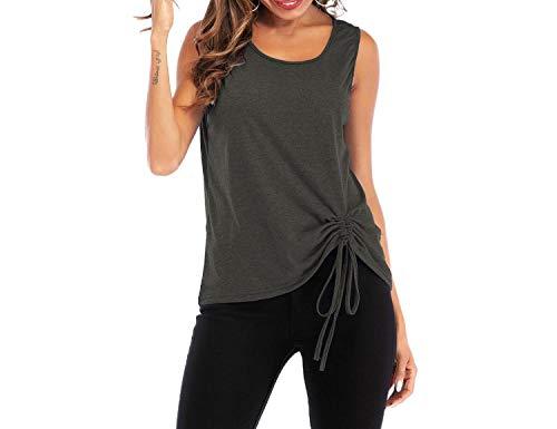 Camiseta de verano para mujer, informal, sin mangas, cuello en V, con lazo, para mujer