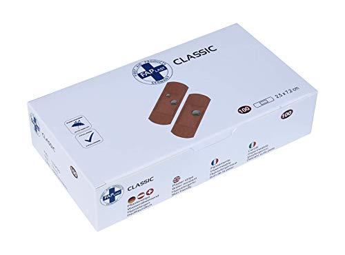 HierBeiDir Pflaster Strips Classic, wasserfest, hautfreundlich, hypoallergen, 100 Stück, 2,5x7,2 cm