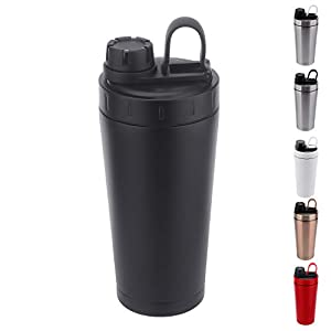 Stainless Steel Protein Shaker Bottle Insulated Keeps Hot/Cold Dishwasher Safe/Double Wall/Odor Resistant/Sweatproof/Leakproof/BPA Free 20 oz (Black)