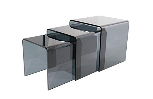 Glass Tables Online Smoked Glass Nest Of Three Tables