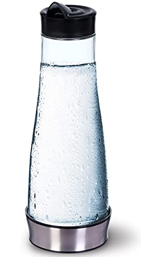 Jarra de Agua de Cristal con Tapa 1 Litro – Botella de Cristal Redonda para Agua – Jarra de Agua Transparente con Base – 1000 ml - KitchenGet