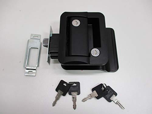 RV Camper Trailer Black Entry Door Handle Latch Keyed Lock w/Deadbolt / 4 Keys