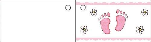 Generique - 10 étiquettes Papier Pied Rose Baptême Fille