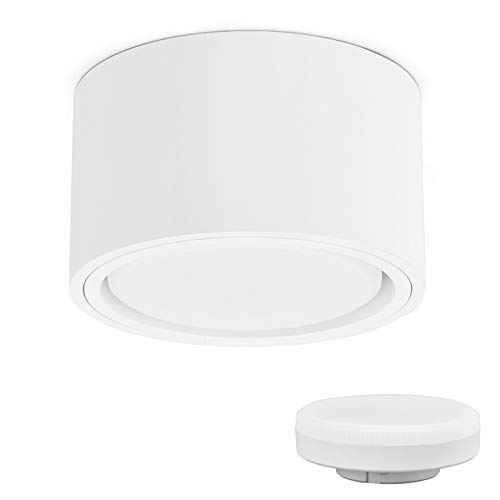 KYOTECH Focos LED Superficie Focos LED Techo incl. Bombilla 6W intercambiable GX53, Extraplano con solo 55 mm, Focos IP44...