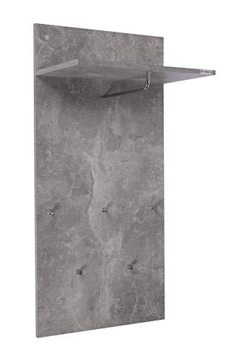 ts-ideen Garderobe Wandgarderobe Flur Diele Paneel Hakenleiste Holz Beton Grau mit 5 Haken, Ablage und einer Stange in 100 x 49 cm