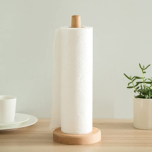 Paper Towel Holder , UHBGT Kitchen Paper Hanger Rack Bathroom Towel Roll Stand Organizer Simply Standing Countertop Wooden Paper Roll Holder for Cabinet , Table (Round Bottom)