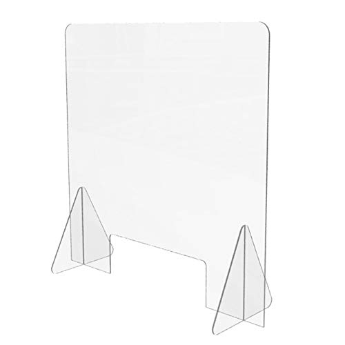 Clear Protective Acrylic Sneeze Guard (24'W x 24'H), Freestanding Panel Shield with 12'W by 4'H Cutout Opening, Portable Plexiglass Barrier