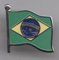 Tringle à rideaux motif drapeau brésilien avec attache style  pin s