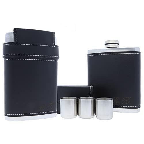 FORYOU24 Petaca de acero inoxidable y piel, con grabado personalizable, incluye vaso, color negro