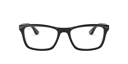 Ray-Ban RX5279 Square Prescription Eyeglass Frames, Shiny Black/Demo Lens, 55 mm