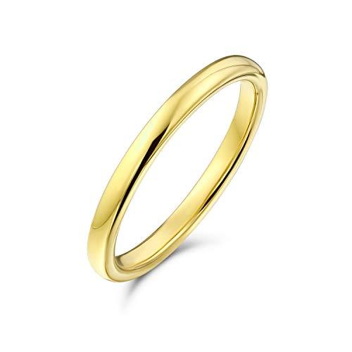 Bling Jewelry Semplice Minimalista Sottile impilabile Dome Coppie Titanio Fede Nuziale lucidato 14K Anello Placcato Oro per Uomo per Donna 2MM
