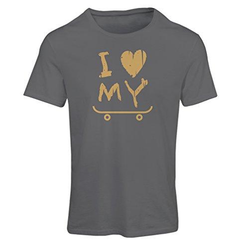 lepni.me Camiseta Mujer I Love my Skate ! - For Skaters Quotes, Skate Longboard, Skateboard Gifts (XX-Large Grafito Oro)