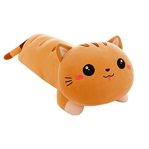 Tenacitee Long Cat Plush Toy, Stuffed Animal Cat Plush Pillow Soft Waist Cushion, Cute Cat Home Room Ornament, Kawaii Cat Plush Doll for Kids Adults Holiday Birthday Gift (Gray 19.6in)