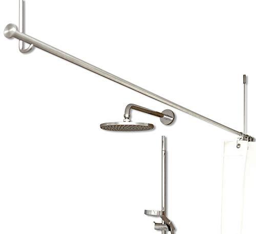 PHOS Design, freihängende Duschvorhangstange, Deckenträger einkürzbar, 160 cm breit, 40 cm hoch, Edelstahl massiv, matt geschliffen, Duschstange ohne Bohrung in der Wand, Duschenstange für Badewanne