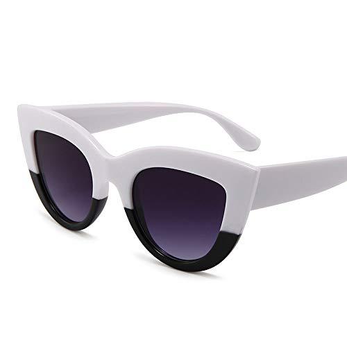 ZJMIYJ Zonnebrillen, Kat Oog Zonnebril Merk Ontwerp Zonnebril Dames Trend Zonnebril Zomer Mode Grote Frame Zonnebrillen Voor Vrouwen Uv400 Zwart En Wit Fotolijst