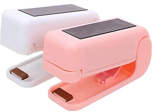 Sellador de bolsas de plástico, mini sellador térmico para almacenamiento de alimentos, refrigeración, portátil, resellador portátil (2 unidades)