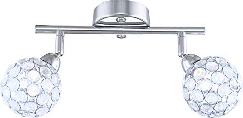 Deckenstrahler 2 Flammig Flur Deckenleuchte Wohnzimmer Flurlampe Kristalle (Deckenlampe, Schlafzimmerlampe, 25 cm, 2 x G9 33 Watt, Warmweiß)
