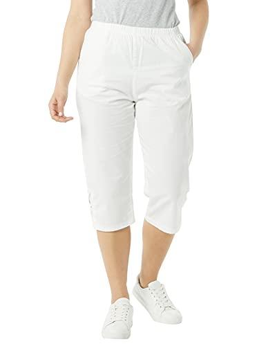 AmeriMark Women's Lattice Hem Capris - 100% Cotton Pants with Elastic Waist White 14 Petite