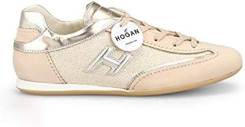Hogan Damen HXW0520BH60KJR0QDB Beige Leder Turnschuhe