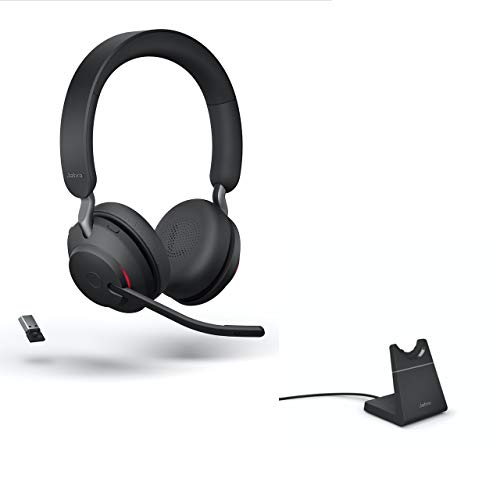 Jabra Evolve2 65 Wireless Headset USB Stereo MS w/Stand, Bluetooth Dongle, Compatible with Zoom, Webex, Skype, Smartphones, Tablets, PC/MAC, 26599-999-989, Global Teck Gold Support Plan Included