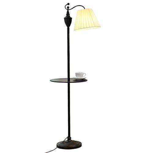 QTDH Staande ledlamp, bijzettafel, Nordic aanpasbaar, dimbare vissen, smeedijzer-leeslamp voor woonkamer, slaapkamer, werkkamer