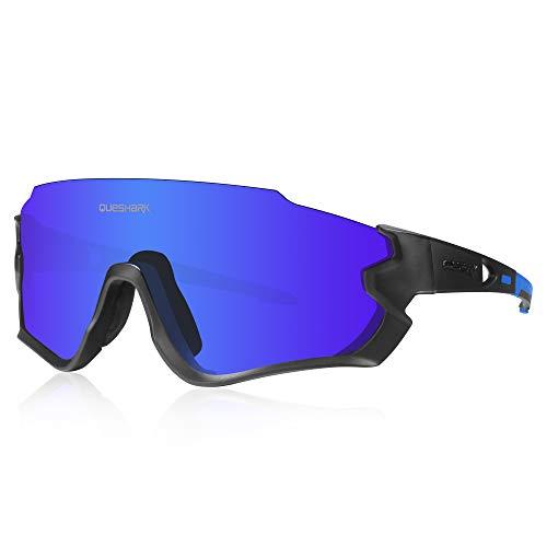 Queshark Gafas de Ciclismo para Hombre Mujer Bicicleta de Carretera 1 Lente Polarizada 3 HD UV400 Lente QE45 (Azul Negro)
