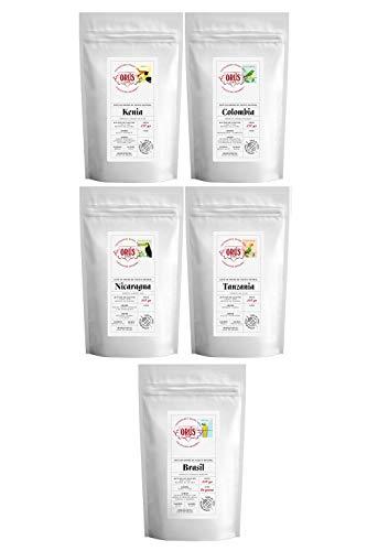 """Pack de café EN GRANO Gourmet """"Colección Orígenes"""" - (5 paquetes de 250 gramos cada uno) - Cafés Orús"""