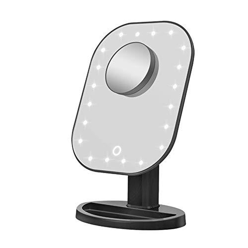 GOCF Miroir De Maquillage Portable Miroir de Maquillage avec Touch Gradateur Batterie et USB Powered 1x10x Grossissement pour Le Maquillage De Comptoir (Color : Black, Size : 16x21cm)